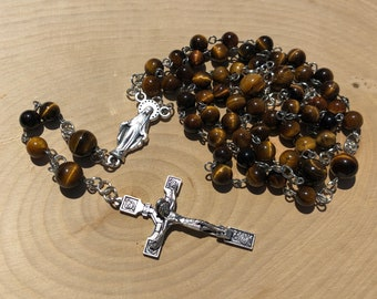 Miraculous Medal Rosary | Yellow Tiger Eye Stone Beads | 5 Decade Rosary