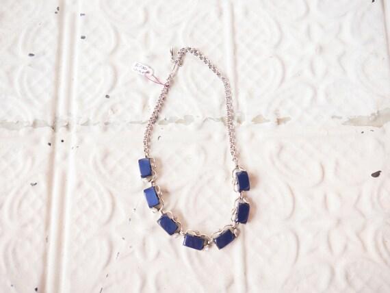 1950s blue glass leaf necklace // costume // vintage jewlery