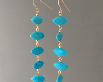 FIVE Turquoise Drop Earrings in Gold Fill, Rose Gold Fill or Silver