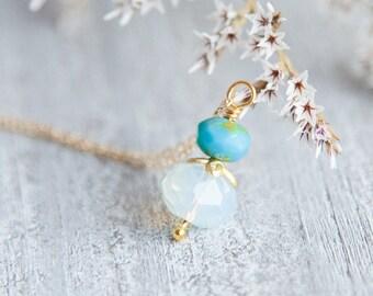 Opalite Necklace Gold Opalite Necklace, Boho Opalite Necklace, Boho Boho Opalite Pendant, Bijoux fantaisies, Collier d'opale, Collier en or