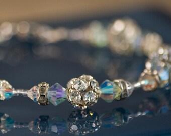 Blue Silver Bridal Bracelet Handmade vintage crystal wedding swarovski heart classic elegant