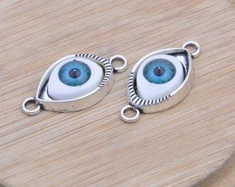 10 Antique Silver Blue eyeball Eye Pendants, metal Eye cabochons, Jewelry Eye Connectors, eye charms, bracelet eye drop connector 28x14mm