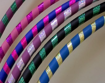 Adult Beginner Dance / Fitness Hula Hoop. Grip and sparkle prism deco. Full size or collapsible / travel