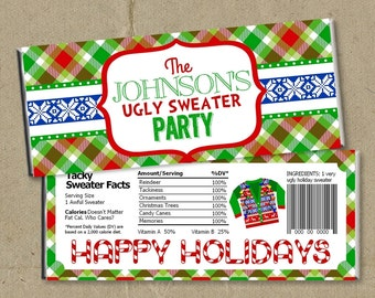 12 Ugly Sweater Party Candy Bar Wrappers