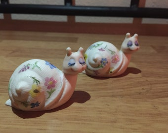 Handpainted vintage snails