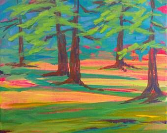 Row River Schwarz Park Trees original abstract plein air acrylic landscape painting