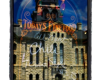 10 x 13 Print Special Todays Fine Food All Meat Chili Glass Sign with Building Reflection Fine Art Print