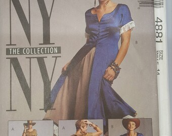 McCall's 4881 Prairie Style NY Collection 90's Back Lacing Dress Sewing Pattern Size 14 Uncut FF