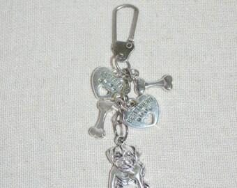 Keychain Swivel Clip Bulldog, Dog Lover Keychain, Dog Lover Bag Clip, Bulldog Keychain, Dog Lover Purse Clip, Mans BF Keychain, Dog Clip