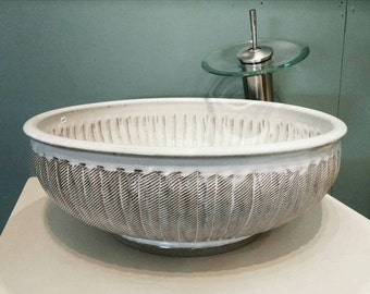 """Custom Handmade Pottery Unique Creatively Sculpted Vessel Sink Designed For Your Bathroom Remodeling """"Made to Order"""""""