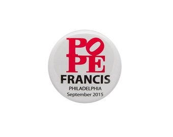Pope Francis Philadelphia PA 2015 Visit Pinback Button Love Sculpture Style