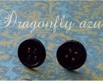 Coraline Black Button Earrings