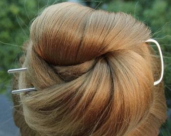 Square Hair Fork, Silver Bun Holder, Hair Bun Pin, Chignon Pin, Hammered Jewelry, Metal Hair Fork, Thick Hair Accessories for Women Gift