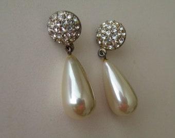 Signed Roman faux pearl rhinestone drop dangle stud earrings.