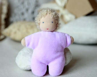 Waldorf  baby  doll 4 inch (10 cm) small doll pocket doll natural  toy birthday party favors
