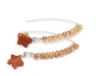 Orecchini wire, orecchini con pietra dura a forma di stella, orecchini con cristalli, orecchini lunghi, orecchini con agata, OOAK