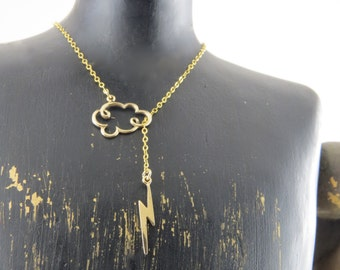 Lightning lariat necklace, cloud and lightning necklace, thundercloud necklace, cloud necklace, lightning necklace, gold filled chain