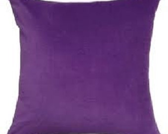 Solid Purple Cotton Decorative Pillow Cover - Available In 3 Sizes