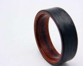 Santos Rosewood and Carbon Fiber ring Handmade wood ring