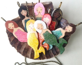 Necklace Mermaid, mermaid pendant, Zoownatas