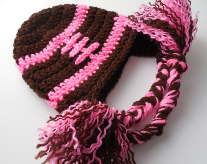 Girl Football Hat - Adult Football Hat - Brown and Pink - Baby to Adult Sizing - Handmade Crochet - Made to Order