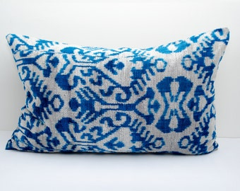 23x14, blue, velvet ikat pillow cover, blue ikat, velvet ikat pillow, blue pillows, luxury pillow, velvet pillows, lumbar pillow