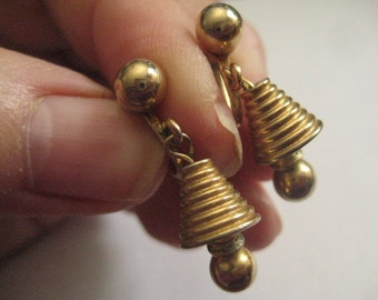 Signed ALICE Bell Shaped Screwback Earrings in Gold Plated Metal Sooo Cute