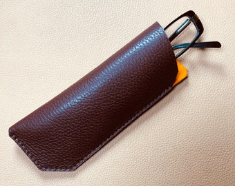 Leather Glasses Case, Spectacle Case, Sunglasses case, Eyeglass case, Sunglass Case, BROWN-ORANGE
