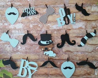 Boy Oh Boy Mustache Garland, Boy Oh Boy Shower Decor, Mustache Theme Shower Decor, Mustache Die Cuts, Die Cut Garland