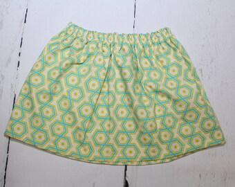 Aquamarine Hexagons Girls Cotton Skirt, Geometric Print Girls Skirt, Knee Length Skirt, Toddler, Baby Skirt, Basics, Toddler Skirt