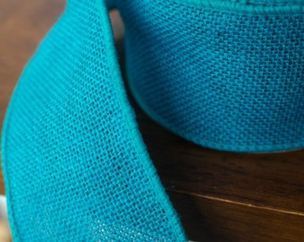 "Turquoise burlap wired ribbon, by the yard, 2.5"", blue burlap ribbon, burlap, turquoise ribbon"