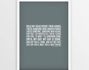 Coldplay print etsy coldplay til kingdom come lyrics print picture poster unframed a4 a3 sizes stopboris Choice Image