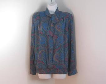 Vintage Blouse Paisley Blouse Secretary Blouse size 18