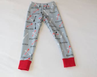 Personalized Valentines Leggins For Baby and Child Gray Red Black Arrowns Valentines Day Gift Soft Cozy Leggings Little Boy Outfit