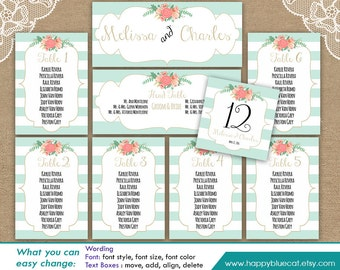 DiY Printable Wedding Seating Chart Template - Instant Download - EDITABLE TEXT - Vintage Mint  Wedding, Stripes - MS® Word Format HBC7n