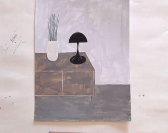 black lamp. original illustration