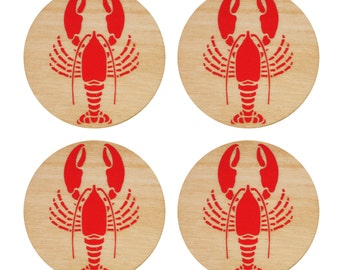 Lobster Coasters | Wood Coasters | Drink Coasters | Coasters | Home Decor | Beverage Coasters | Lobster | Nautical Decor | Made in Maine
