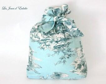 Toile de Jouy turquoise laundry bag.