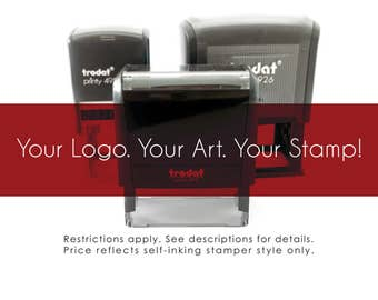 LARGE - Logo Art - Custom Self-Inker Stamper Style - Impression Size Offered 1-1/2 Inch Tall By 3 Inches Wide Only -  Personalized Gifts