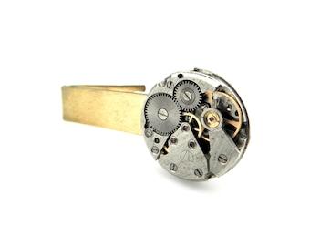 Clockworks Tie Bar Clip - Watch Parts Tie Clip - Steampunk Tie Bar Clip - Industrial Tie Clip - Mechanical  Tie Clip - Steampunk Accessories