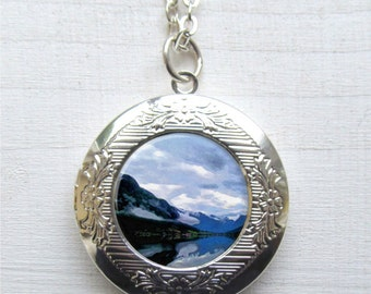 Mountain Necklace, Photo Locket, Mountain Locket Necklace