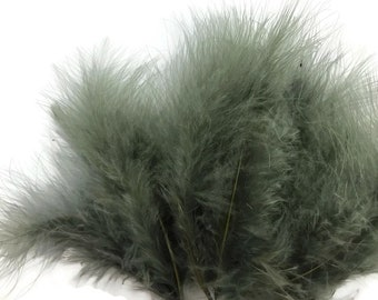 """Down Feathers, 1/4 Lb - 5-6"""" Silver Gray Green Turkey Marabou Short Down Fluffy Loose Wholesale Feathers (Bulk) : 4455"""