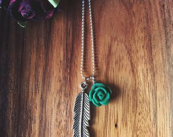 Teal Rose with Silver Feather Boho Necklace