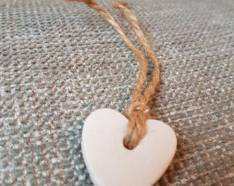 Ceramic white clay heart wedding favour / gift tag / gift /momento / keepsake with hessian jute string tie.