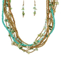 Turquoise Torsade Necklace & Earrings Set