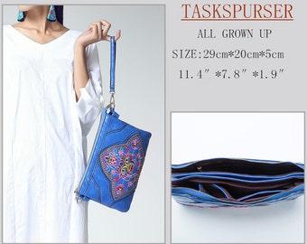 Sac en cuir couleur sac brodé sac à main sac design Croix corps sacoche messenger sac à main de dames