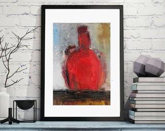 Modern Abstract painting Contemporary Still life, Small artwork wine bottle original oil painting,Wine art Modern kitchen decor,giclee print