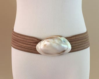 1980s Vintage Taupe Soutache Stretch Belt/Shell Closure
