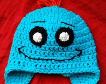 Mr Meeseeks crochet hat with earflaps