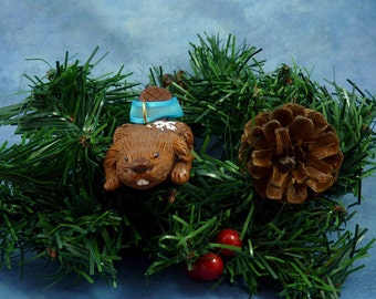CLEARANCE Xmas Beaver Ornament with Snowflake Tush, Handmade Christmas Decoration